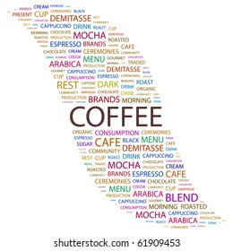 COFFEE. Word collage on white background. Illustration with different association terms.