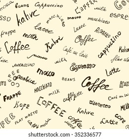 Coffee words background, seamless vector eps 10