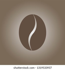 Coffeebean icon isolated on brown background. Vector illustration. EPS 10.