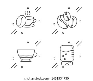 Coffee-berry beans, Bombon coffee and Coffee cup line icons set. Water cooler sign. Cafe bombon, Roasted bean, Office drink. Food and drink set. Line coffee-berry beans outline icon. Vector