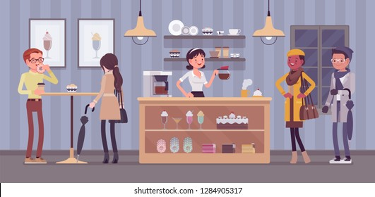 Coffeehouse barista and coffee shop visitors, cafe interior. People enjoy drinks, young woman selling latte, cappuccino, espresso and sweet assortment. Small business idea. Vector illustration