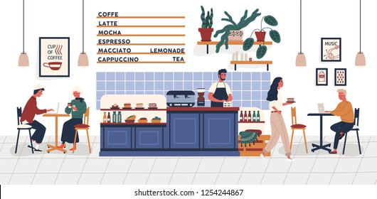 Coffeehouse, coffee shop or cafe with people sitting at tables, drinking coffee and working on laptops and barista standing at counter. Colorful vector illustration in trendy flat cartoon style.