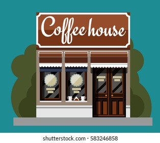 Coffeehouse in flat style. Vector illustration Eps10 file.