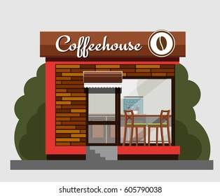 Coffeehouse in flat style. Vector illustration Eps10 file