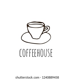 Coffeehouse logo with cup of coffee in hand drawn style. Vector illustration