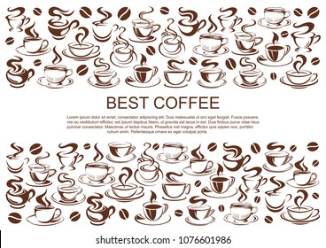 Coffeehouse poster of coffee cups for cafe or cafeteria and coffeeshop design template. Vector icons of coffee or tea mugs with steam and coffee beans for americano, espresso or latte and cappuccino