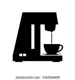 Coffeemaker icon. Coffee machine vector illustration isolated on white background. Barista equipment linear logo. Vector illustration.