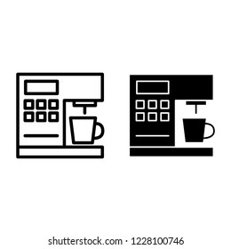 Coffeemaker line and glyph icon. Coffee machine vector illustration isolated on white. Appliance outline style design, designed for web and app. Eps 10