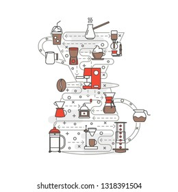 Coffeemaker shape vector poster banner template. Coffee making equipment and accessories thin line art flat icons for web, printed materials. Espresso turkish french press etc. coffee brewing methods.