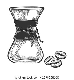 Coffeemaker sketch engraving vector illustration. Scratch board style imitation. Black and white hand drawn image.