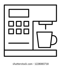 Coffeemaker thin line icon. Coffee machine vector illustration isolated on white. Appliance outline style design, designed for web and app. Eps 10