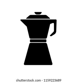 Coffeepot glyph. Coffeepot icon for web and app. Coffee pot or coffee maker. Coffeemaker icon. Vector kitchenware, appliances. Drink elements isolated on white background.