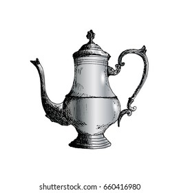 Coffeepot Hand Drawn Sketch Vector illustration
