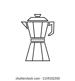 Coffeepot line. Coffeepot icon for web and app. Coffee pot or coffee maker. Coffeemaker icon. Vector kitchenware, appliances. Drink elements isolated on white background.