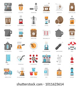 coffee's equipment flat icon set, isolated on white background
