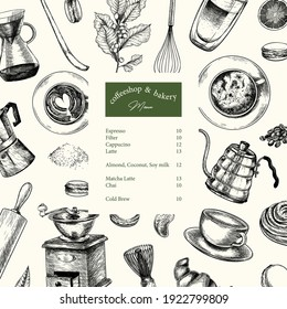Coffeeshop and bakery set. Hand drawn coffee, matcha, croissant, macaron, kettle, mug, chasen, beans, food, barista equipment. Vector engraved composition Restaurant branding template menu design