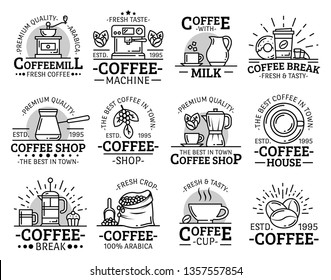 Coffeeshop, cafe or cafeteria and coffeehouse line icons. Vector premium quality coffee cup of cappuccino and americano, Turkish sezve maker and coffee beans, sugar and milk pot with donut dessert