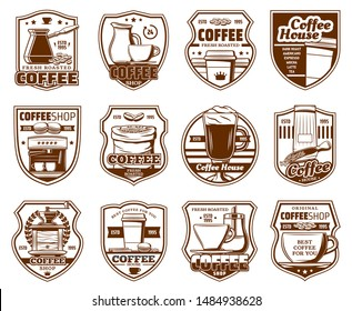 Coffeeshop, cafe or cafeteria signs, coffeehouse drinks icons. Vector premium quality crown, coffee maker machine, beans and latte steam in takeaway cup, grinder with sugar and milk mug