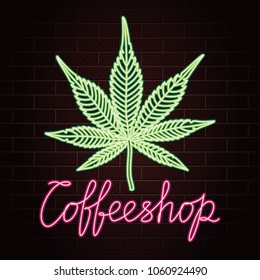 Coffeeshop Logo Lettering with Cannabis or Marijuana Leaf Glowing Neon Light Style Creative Concept - Green and Red Elements on Dark Brick Wall Background - Vector Hand Drawn Doodle Design