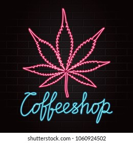 Coffeeshop Logo Lettering with Marijuana or Cannabis Leaf Outline Glowing Neon Light Style Creative Concept - Blue and Red Elements on Black Brick Wall Background - Vector Hand Drawn Doodle Design