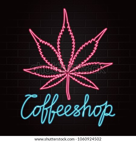 Coffeeshop Logo Lettering Marijuana Cannabis Leaf Stock Vector