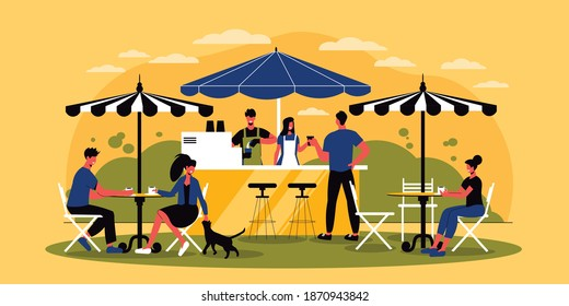 Coffeeshop outdoors horizontal vector illustration with visitors sitting at tables under umbrellas barista and barmaid standing near coffee machine