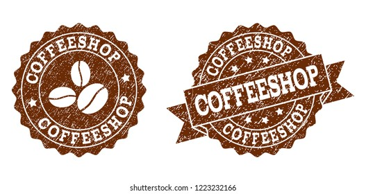 Coffeeshop rubber stamps. Vector seals in chocolate color with round, ribbon, rosette, coffee bean elements. Grainy design and retro texture are used for Coffeeshop rubber imprints.