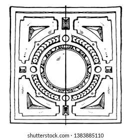 Coffer Frame of the German Renaissance, it was a round shape, vintage line drawing or engraving illustration.