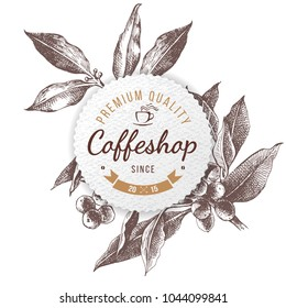 Coffeshop round paper emblem over hand sketched coffee plant branch