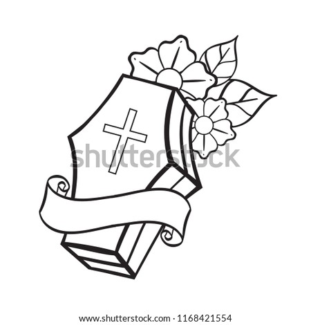 coffin contour illustration coloring template tattoo stock vector