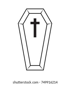 coffin halloween icon isolated on white background