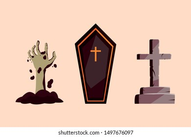 coffin with hand zombie and cross stone of halloween