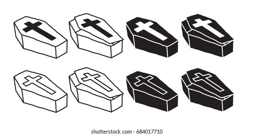 coffin icon Christ cross Halloween doodle illustration