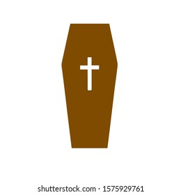 coffin icon with cross vector illustration