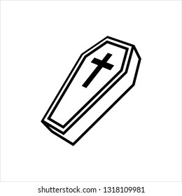 Coffin Icon, Coffin Design Vector Art Illustration