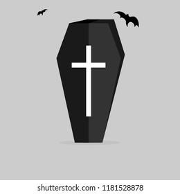 Coffin icon, Halloween symbol, flat design template, vector illustration