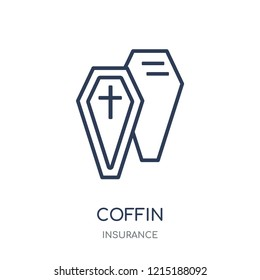 Coffin icon. Coffin linear symbol design from Insurance collection.