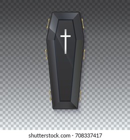 Coffin icon with a metal crucifix and handles on an isolated transparent background - 3D illustration. Elegant black coffin with glare and yellow handles. Sign of the Halloween holiday.