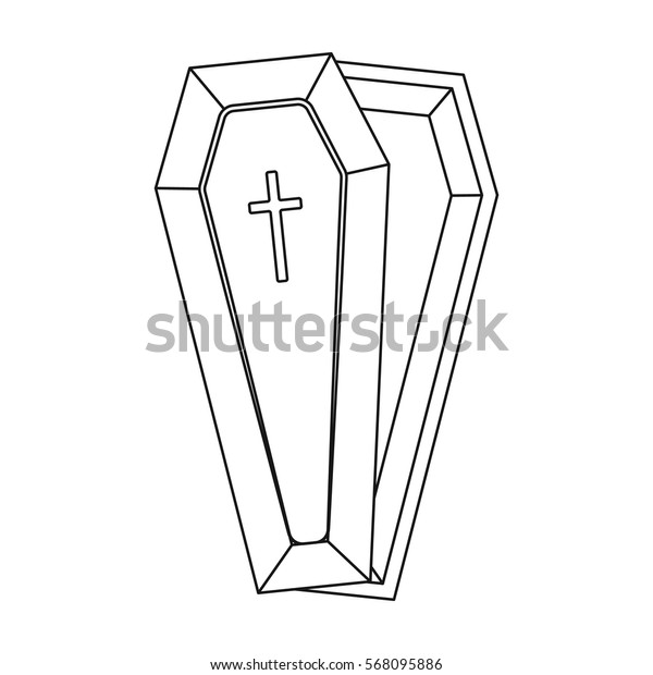 Coffin icon in outline style isolated on white background. Funeral ceremony symbol stock vector illustration.