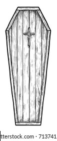 Coffin illustration, drawing, engraving, ink, line art, vector