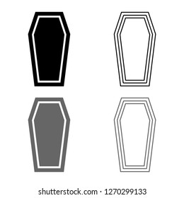 Coffin Insurance concept Funeral subject Lid coffin icon outline set grey black color