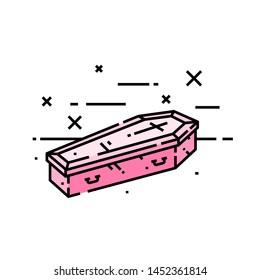 Coffin line icon. Spooky pink halloween vampire casket symbol. Vector illustration.