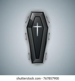 Coffin logo on the grey bacground. Vector eps10