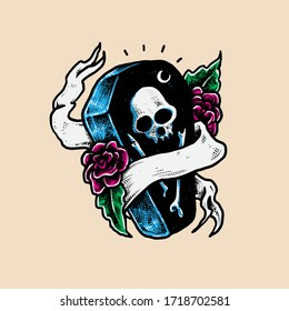 Coffin mourning flowers vector Illustration