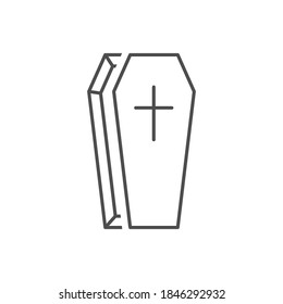 Coffin outline icon. Burial concept vector illustration isolated on white.