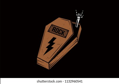 Coffin Rock sign. Dead skeleton hand rock sign vector illustration.