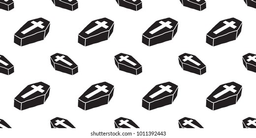 coffin seamless pattern Christ cross vector Halloween isolated wallpaper background