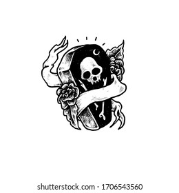 Coffin skull tattoo Vector  design illustration