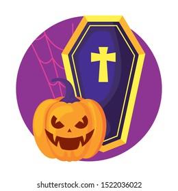 coffin spooky and pumpkin halloween icon vector illustration design
