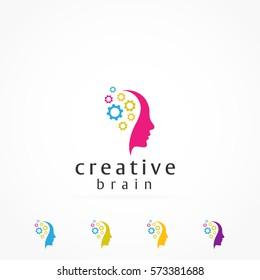 cog gear mind head logo icon